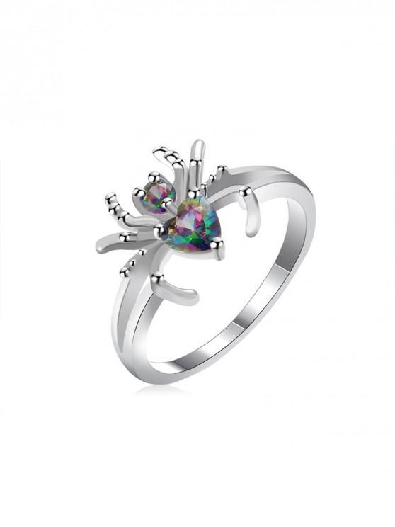 trendy Metal Spider Design Zircon Ring - SILVER US 8