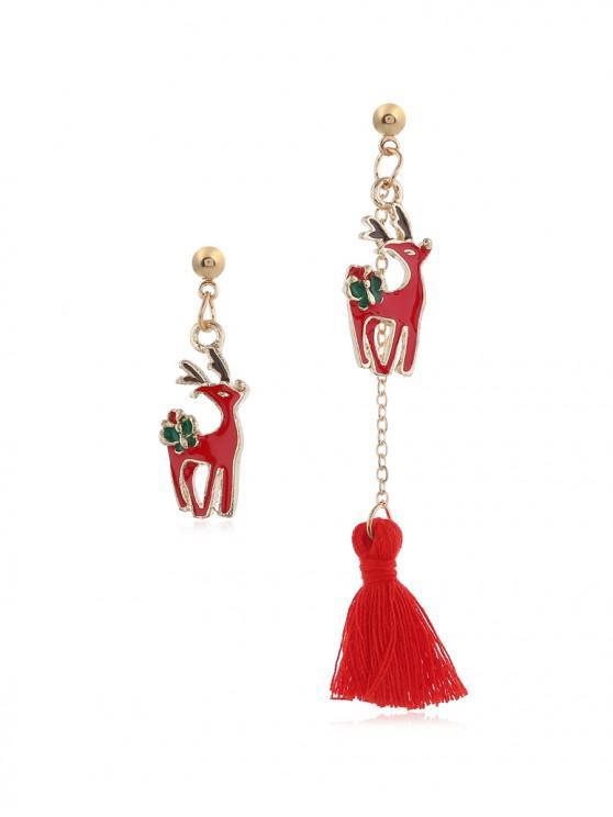 unique Christmas Tree Bell Deer Tassel Asymmetry Earrings - RED DEER