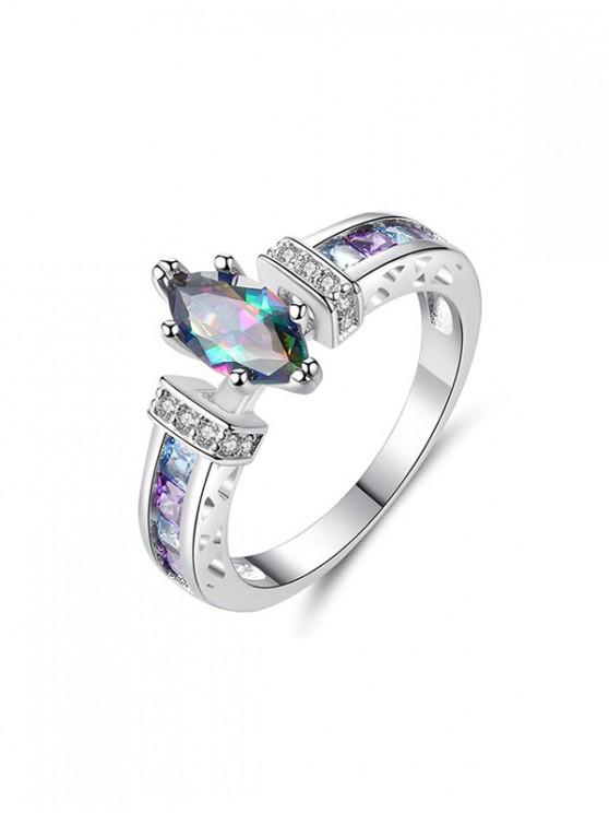 彩色鋯石訂婚戒指 - 銀 美國10
