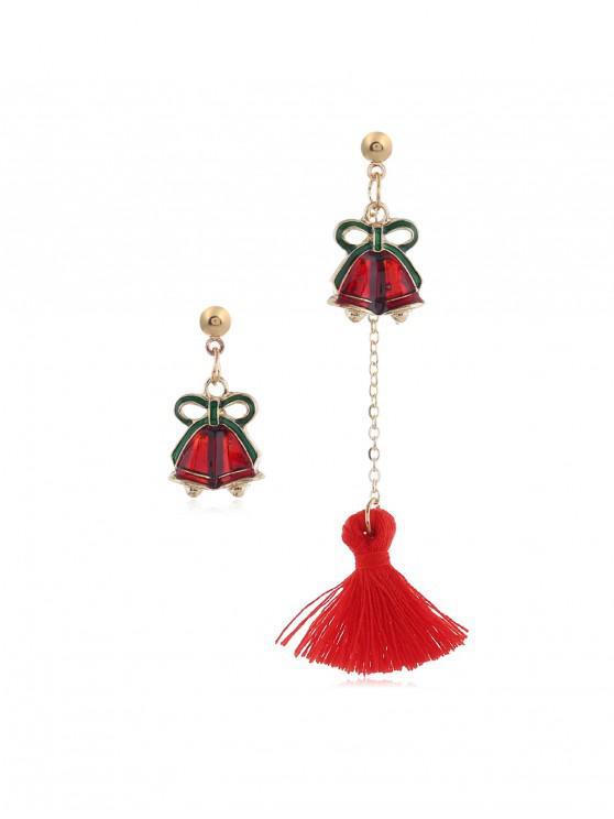 women's Christmas Tree Bell Deer Tassel Asymmetry Earrings - RED BELL