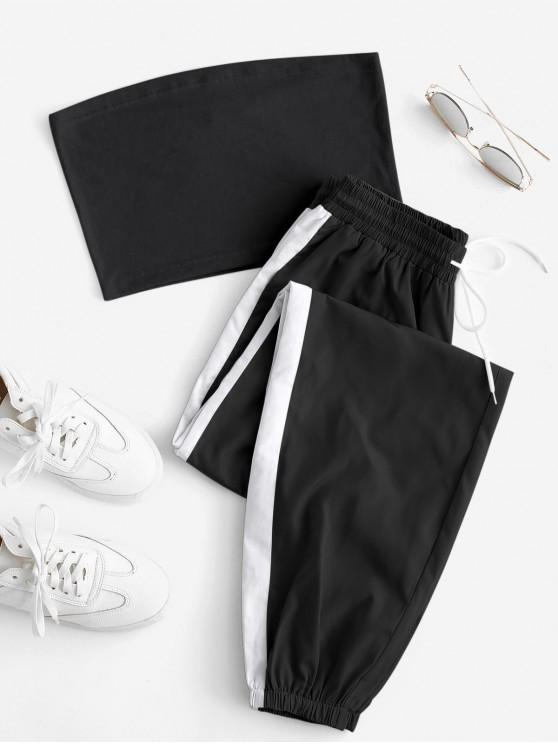 outfit Bandeau Top and Contrast Jogger Pants Set - MULTI-A S