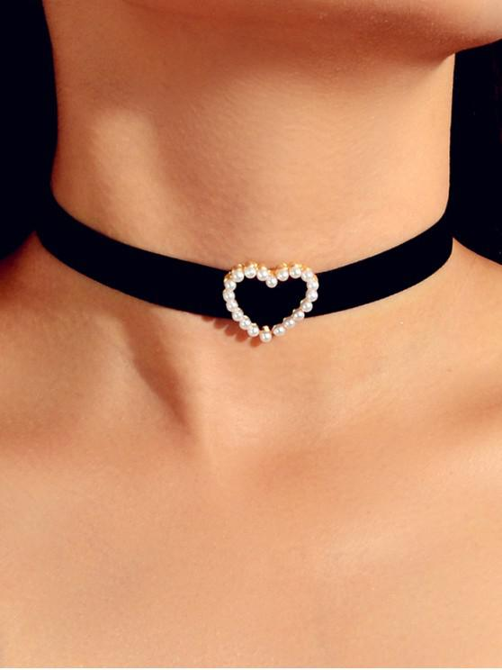 latest Faux Pearl Heart Choker Necklace - BLACK