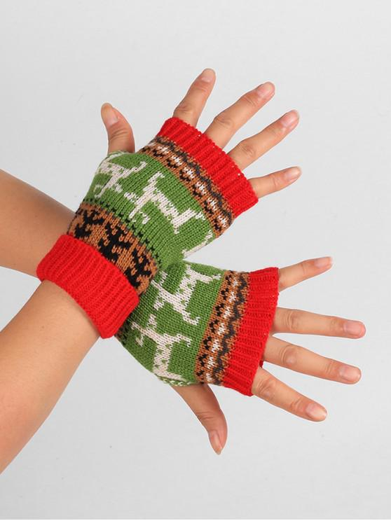 unique Christmas Deer Knitted Fingerless Gloves - RED