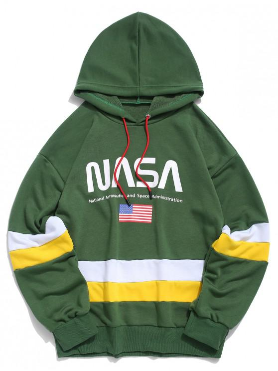 latest ZAFUL American Flag Color Blocking Letter Print Hoodie - MEDIUM SEA GREEN L