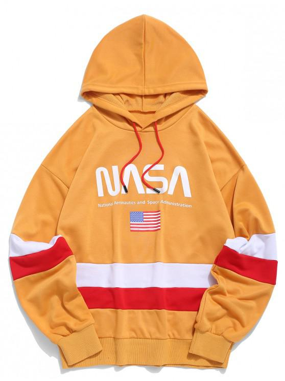sale ZAFUL American Flag Color Blocking Letter Print Hoodie - GOLDEN BROWN 2XL