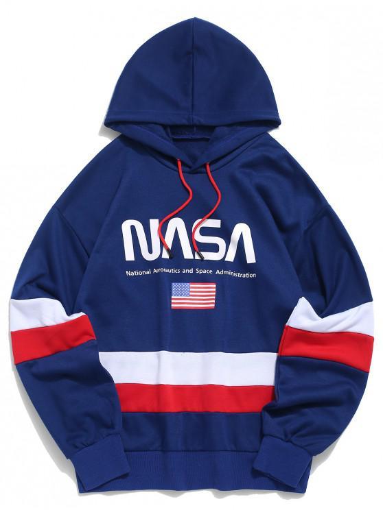 ZAFUL la bandera americana de color Bloqueo de impresión de letras con capucha - Azul Marino 2XL