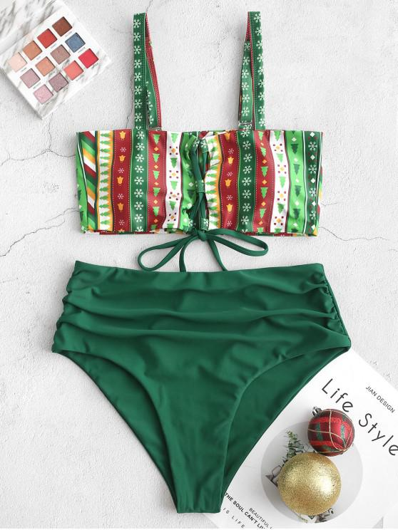 chic ZAFUL Snowflake Lace Up Ruched Christmas Tankini Set - JUNGLE GREEN S