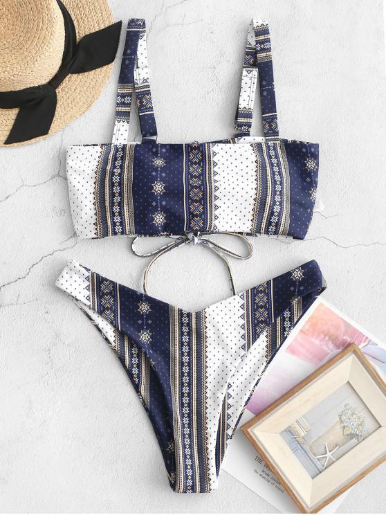 trendy ZAFUL Ethnic Printed Lace-up Bikini Swimsuit - MULTI-A S