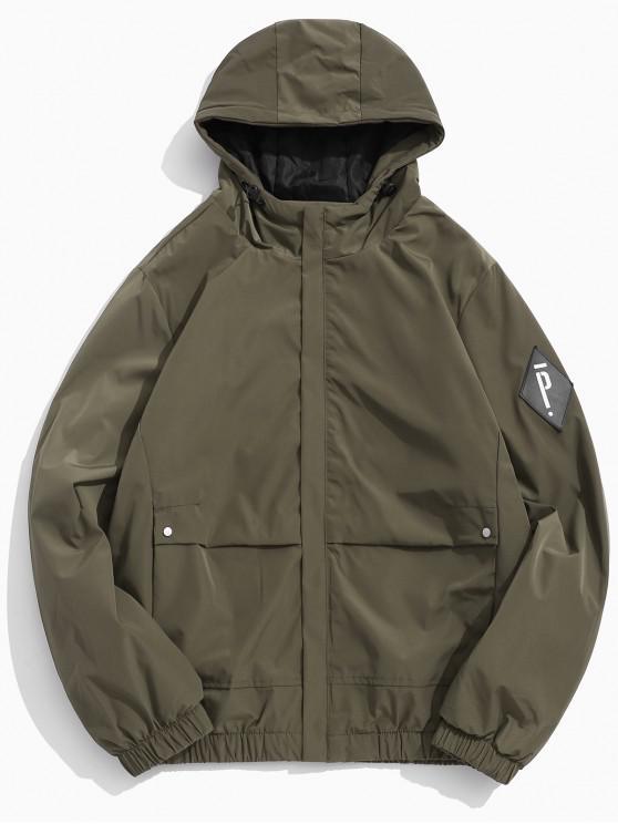 new Solid Letter Applique Fleece Hooded Jacket - KHAKI L