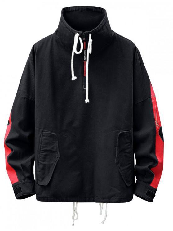 Soporte de cuello de la camiseta de Colorblock del cordón - Negro 2XL