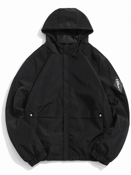 women's Solid Letter Applique Fleece Hooded Jacket - BLACK L