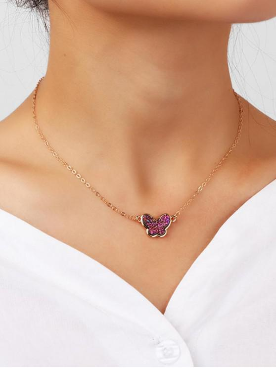 new Fresh Style Rhinestone Butterfly Chain Necklace - GOLD
