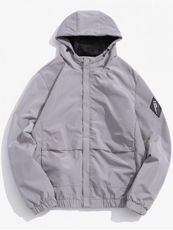 fancy Solid Letter Applique Fleece Hooded Jacket - GRAY S