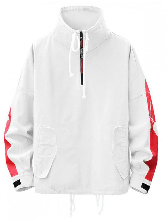 unique Stand Collar Colorblock Drawstring Sweatshirt - WHITE 2XL