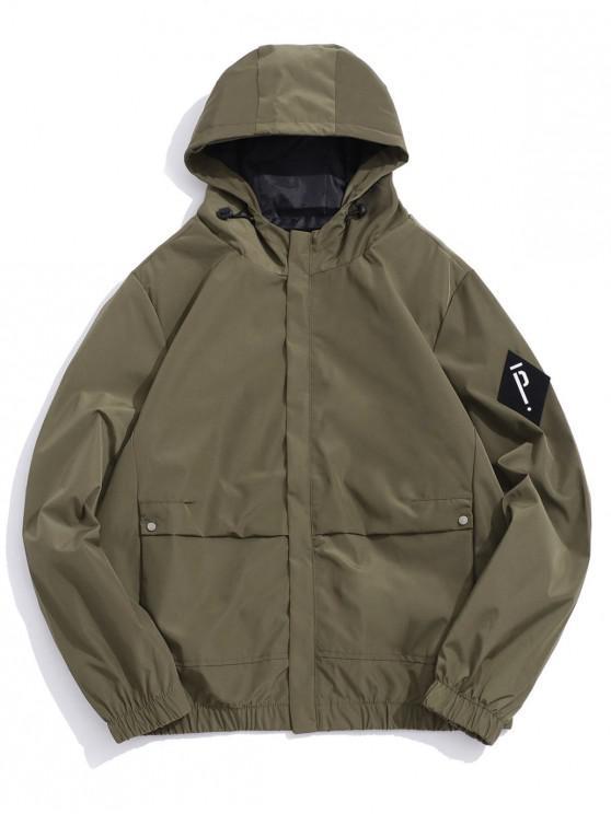 Sólido Carta apliques postal Hasta la chaqueta con capucha - Verde Camuflaje M