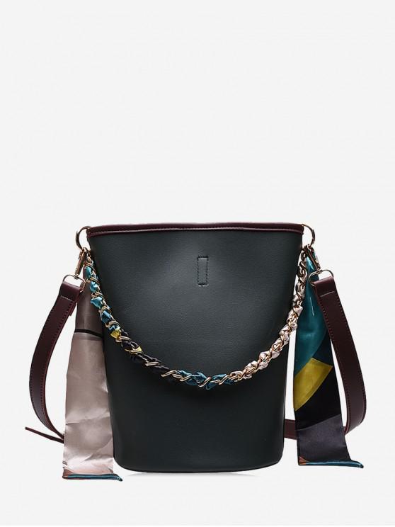 lady Silk Embellished Crossbody Bucket Bag - DARK GREEN
