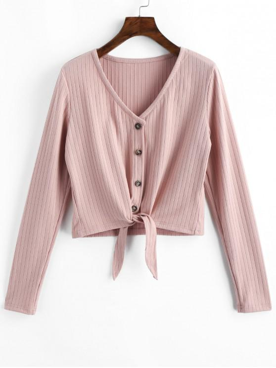 shops ZAFUL Button Up V Neck Tie Front Ribbed Cardigan - PINK XL