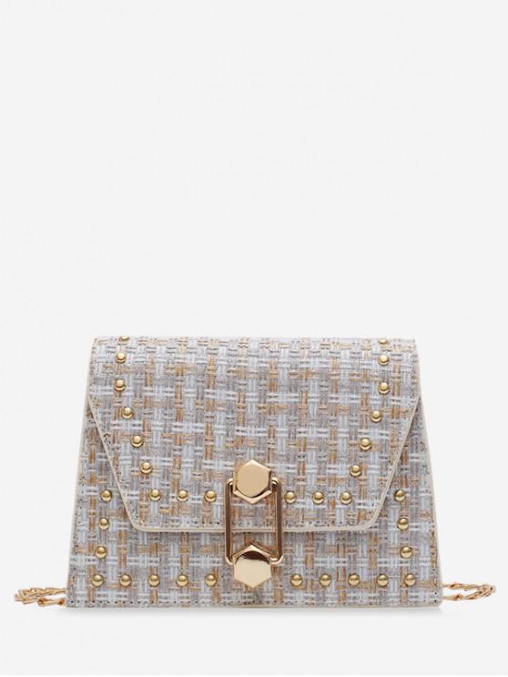 latest Antique Plaid Shoulder Bag - WHITE
