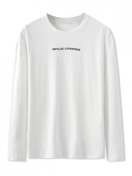 women Letter Graphic Print Long Sleeve Basic T-shirt - WHITE 2XL