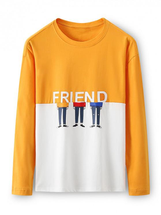 shop Two Tone Friend Cartoon Character Long Sleeve T-shirt - RUBBER DUCKY YELLOW 3XL