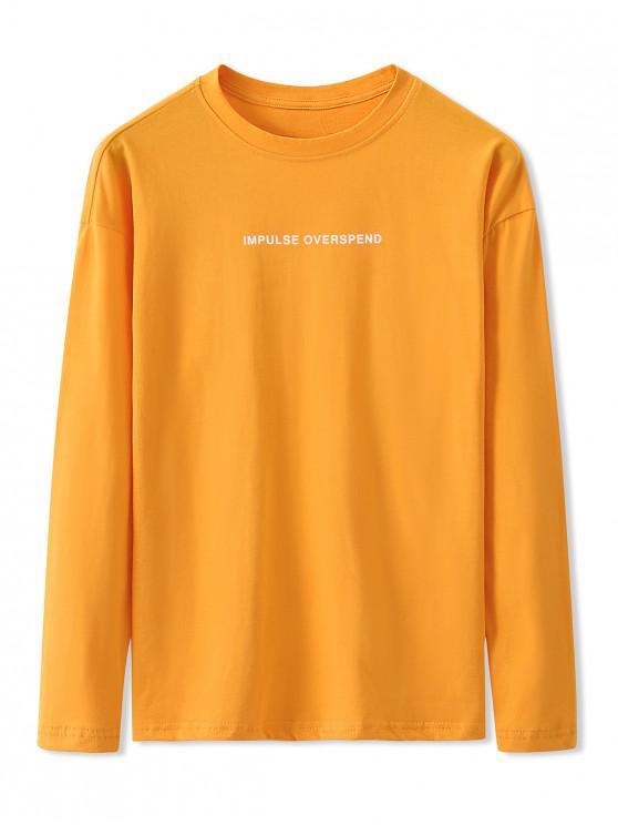 shop Letter Graphic Print Long Sleeve Basic T-shirt - BRIGHT YELLOW 2XL