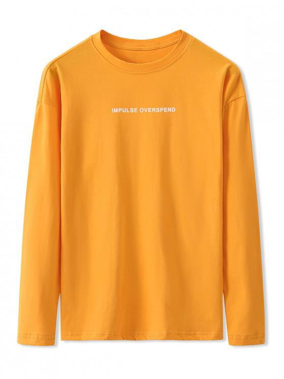 latest Letter Graphic Print Long Sleeve Basic T-shirt - BRIGHT YELLOW L