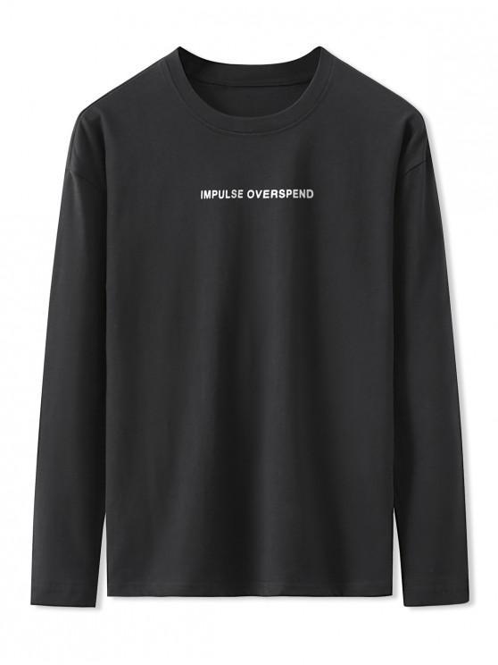 T-shirt de Base Lettre Graphique Imprimée à Manches Longues - Noir 2XL