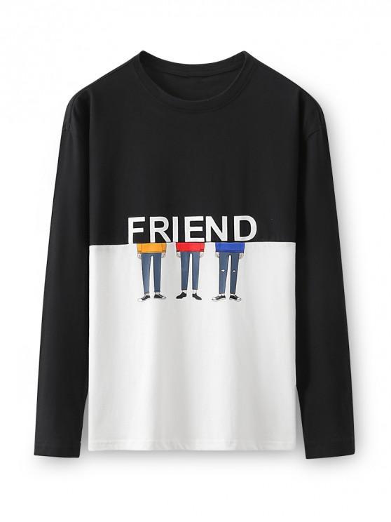 Dos tonos de caracteres amigo de dibujos animados de manga larga camiseta - Negro M