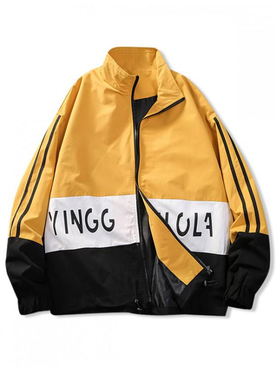 lady Color Blocking Stripes Letter Print Jacket - BRIGHT YELLOW L