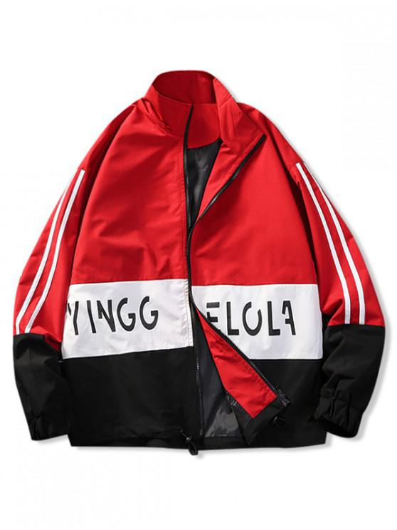 affordable Color Blocking Stripes Letter Print Jacket - LAVA RED M