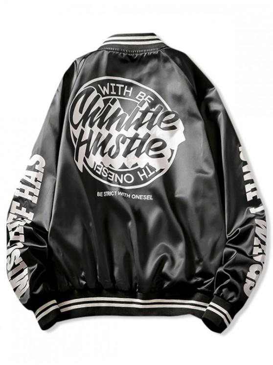lady Letter Graphic Print Raglan Sleeve Baseball Jacket - BLACK XL