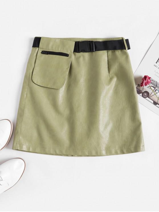women Buckle Belted Zipper Pocket PU Leather Skirt - LIGHT GREEN L