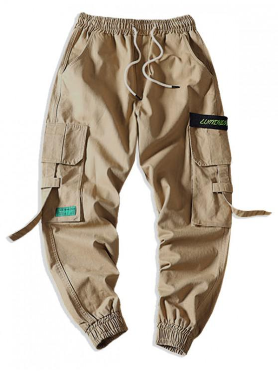 buy Letter Pattern Pocket Decorated Cargo Pants - KHAKI M