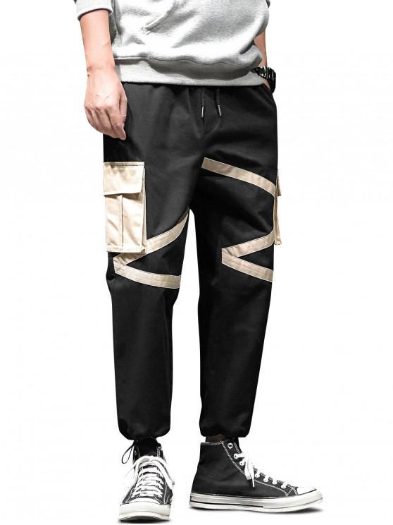 sale Colorblock Flap Pocket Drawstring Cargo Jogger Pants - BLACK 2XL