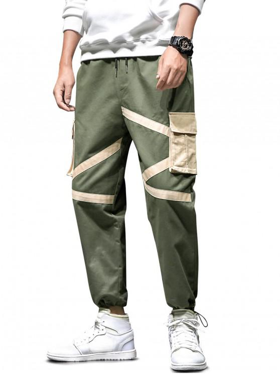 new Colorblock Flap Pocket Drawstring Cargo Jogger Pants - ARMY GREEN S