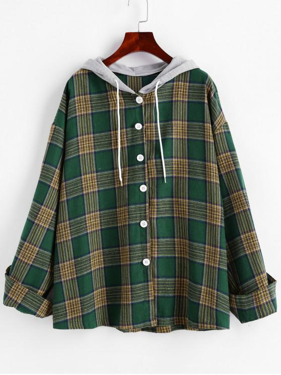 women's Hooded Button Down Contrast Plaid Top - DEEP GREEN ONE SIZE