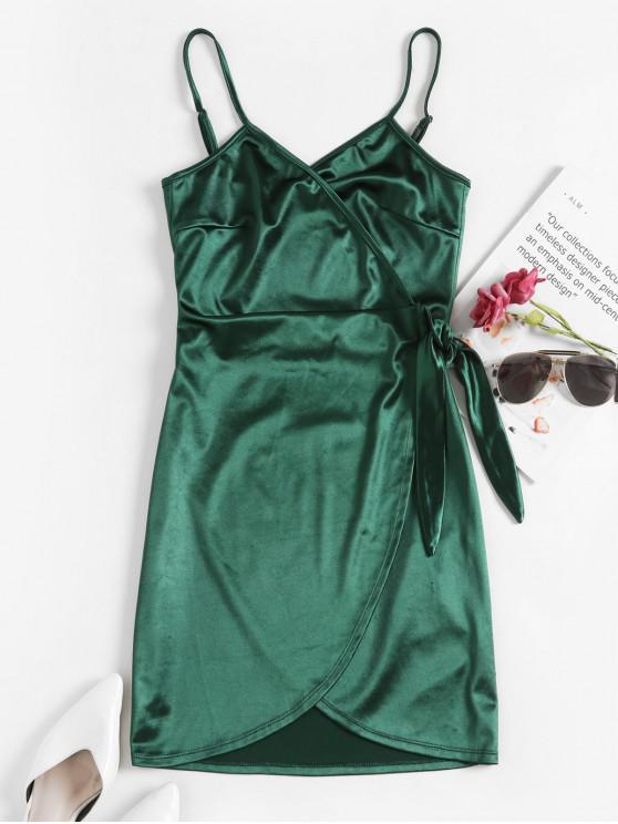 womens ZAFUL Satin Bodycon Wrap Dress - DEEP GREEN M