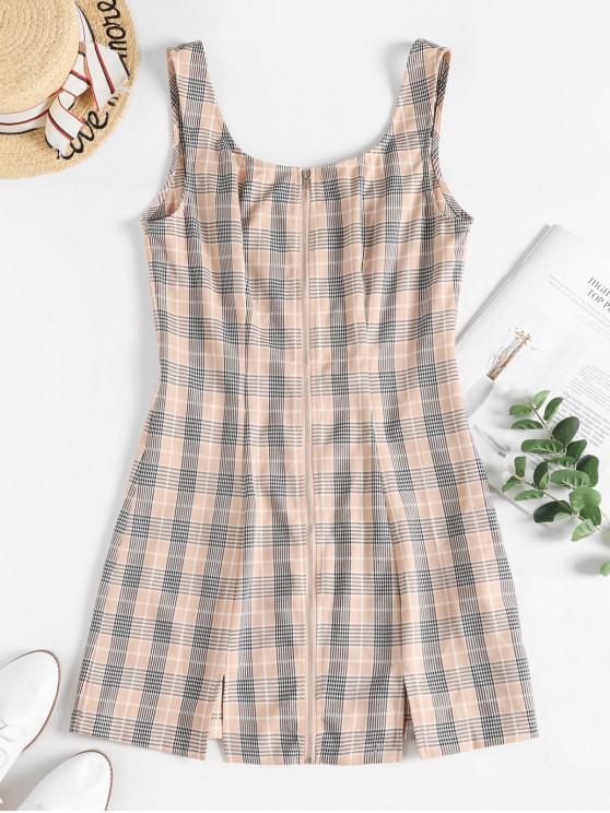 ZAFUL manta Zip Frente Slit Tanque mini vestido - Multi L