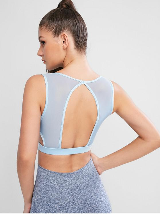 hot Mesh Panel Cut Out Sports Tank Top - LIGHT BLUE L