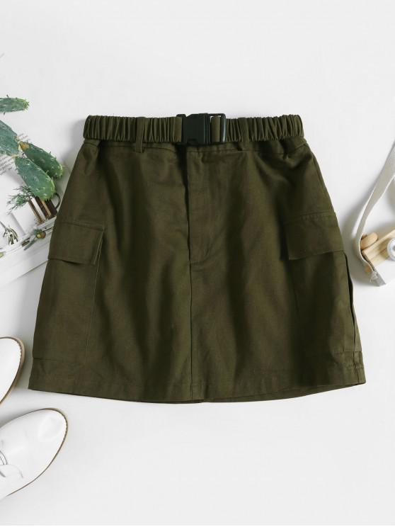 fashion ZAFUL Buckle Belted Pocket A Line Skirt - ARMY GREEN S