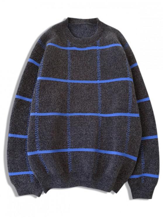 chic Checkered Graphic Crew Neck Pullover Sweater - GRAY M
