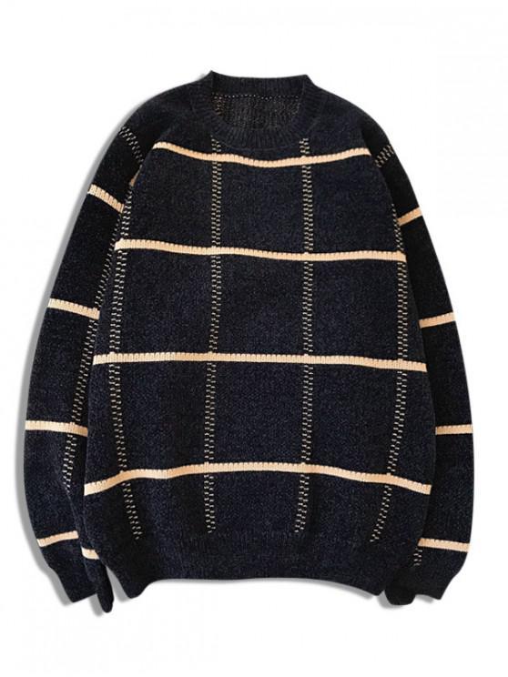 chic Checkered Graphic Crew Neck Pullover Sweater - BLACK M