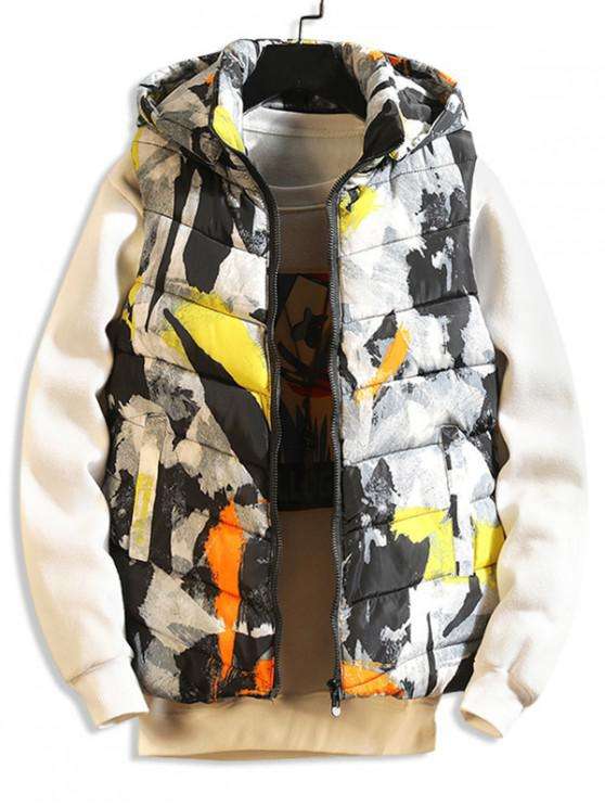 unique Painting Print Casual Hooded Quilted Waistcoat - YELLOW S