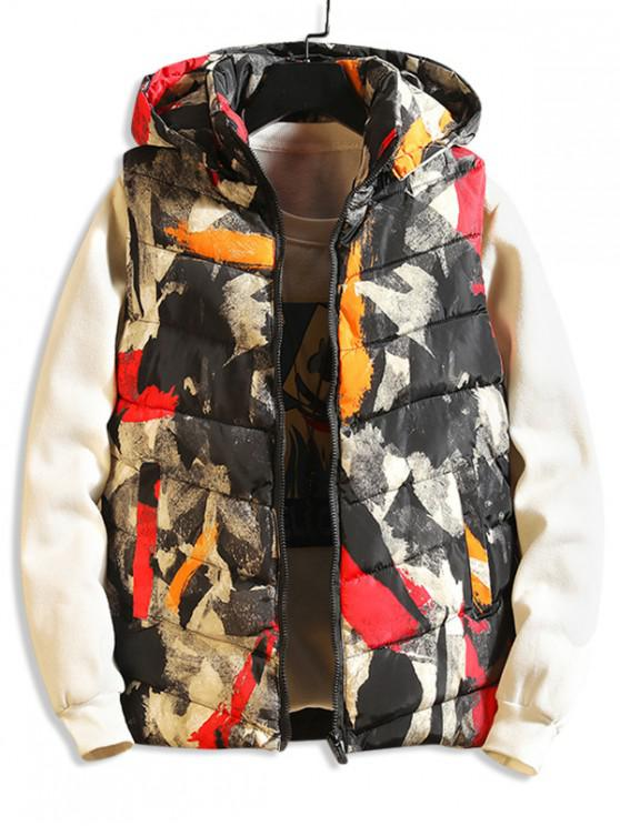 latest Painting Print Casual Hooded Quilted Waistcoat - BLACK XS