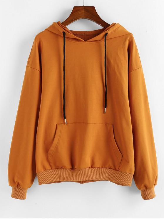 women's Kangaroo Pocket Drawstring Hoodie - CINNAMON L
