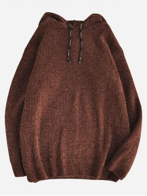women's Solid Color Drawstring Pullover Hooded Sweater - COFFEE S