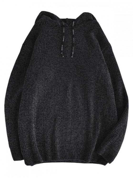 hot Solid Color Drawstring Pullover Hooded Sweater - BLACK S