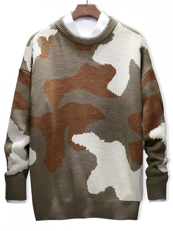 buy Camouflage Letter Graphic Casual Pullover Sweater - KHAKI 2XL