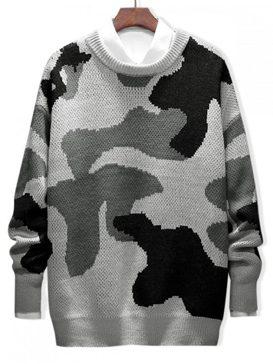 Carta de camuflaje gráfico informal suéter suéter - Negro 2XL