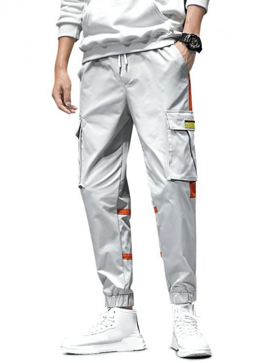 online Contrast Spliced Drawstring Cargo Jogger Pants - GRAY XL